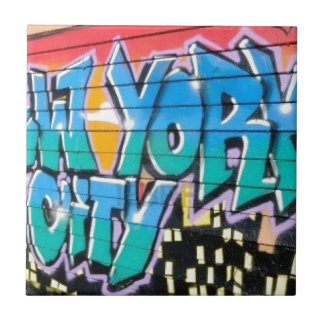 ny graffiti small square tile