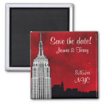 NYC ESB Skyline Silhouette Red Star Save Date Square Magnet