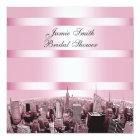 NYC Etched Skyline 2, Black Pink Bridal Shower Card