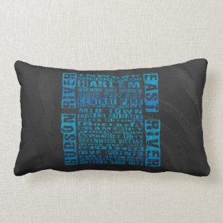 NYC Neighborhoods Blue Lumbar Cushion