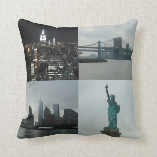 NYC Photo Montage Manhattan Square Cushion