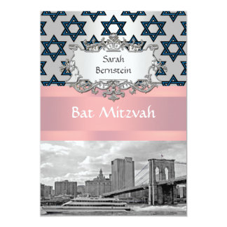 NYC Skyline Brooklyn Bridge Bat Mitzvah #3 13 Cm X 18 Cm Invitation Card
