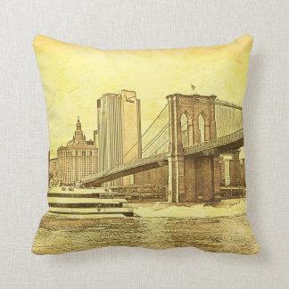 NYC Skyline Brooklyn Bridge Boat Etched Look #1 Cushion