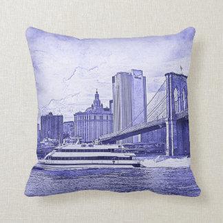 NYC Skyline Brooklyn Bridge Boat Etched Look #2 Cushion