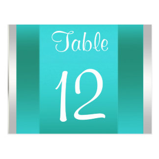 NYC Skyline BW 05 White Teal Table Number Card