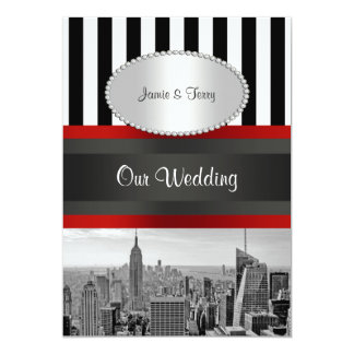 NYC Skyline BW Black White Stripe 2P Wedding Card