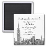 NYC Skyline Etched 01 Save the Date Square Magnet