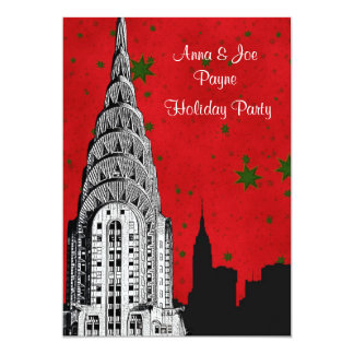 NYC Skyline Etched Chrysler 2 Christmas Holiday Card