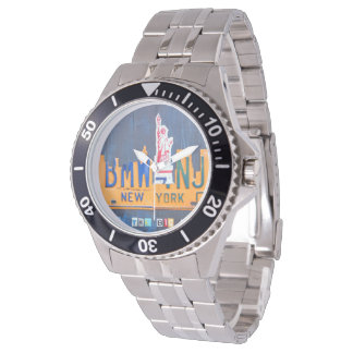 NYC Skyline License Plate Art Watch
