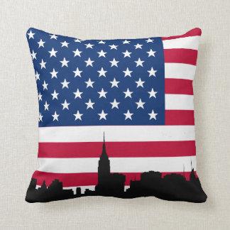 NYC Skyline Silhouette, American Flag Cushion