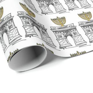 NYC Washington Square Hanukkah Menorah Gift Wrap Wrapping Paper
