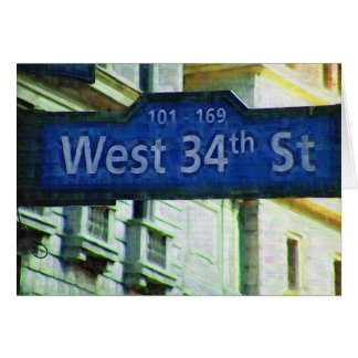 NYC West 34th Street Sign Card