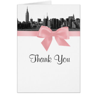 NYC Wide Skyline Etched BW Pink Thank You Card