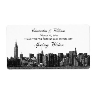 NYC Wide Skyline Etched BW Water Bottle Shipping Label