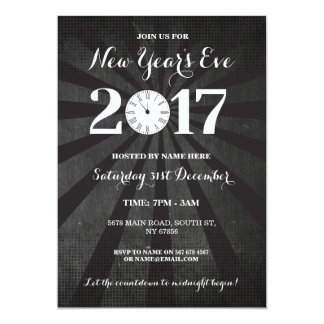 NYE New Year Year's Eve Party Black Clock Invite