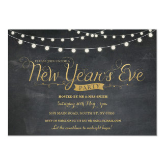 NYE New Year Year's Eve Party Gold Chalk Invite