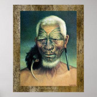 NZ Maori Chieftain Tukukino by Gottfried Lindauer Poster