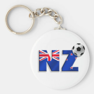 NZ soccer ball gifts flag of New Zealand style Basic Round Button Key Ring