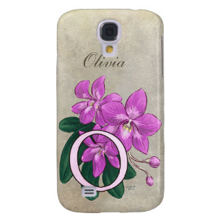 O for Orchids Flower Monogram Galaxy S4 Case