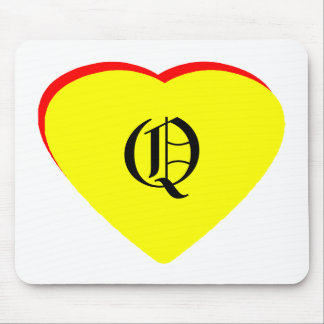 """""""O"""" Heart Yellow Red Wedding Invitation The MUSEUM Mousepads"""
