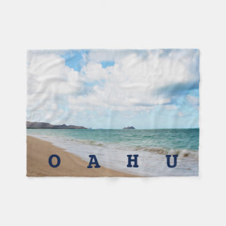 Oahu Hawaii Ocean Waves & Beach Fleece Blanket