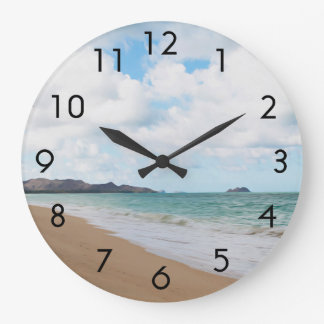 Oahu Hawaii Ocean Waves & Beach Large Clock
