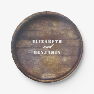 Oak Barrel Bottom Rustic Country Wood Wedding 7 Inch Paper Plate