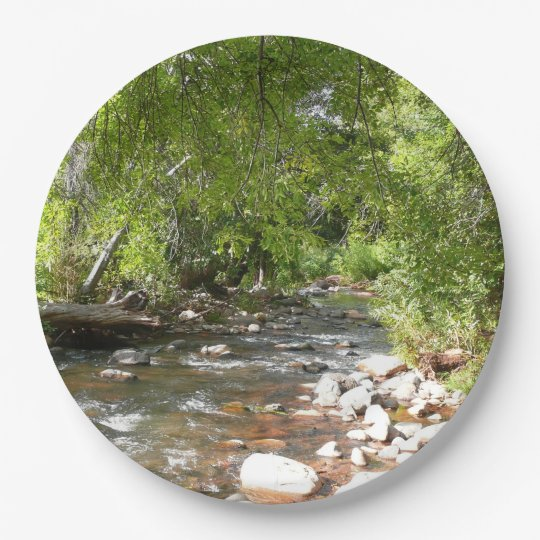 Oak Creek II in Sedona Arizona Nature Photography 9 Inch Paper Plate