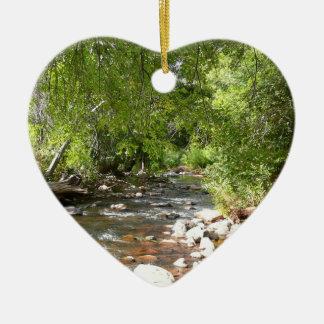 Oak Creek II in Sedona Arizona Nature Photography Ceramic Heart Decoration
