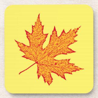 Oak leaf - orange and mustard gold coasters