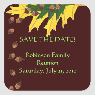 Oak Leaves and Acorn Family Reunion Save the Date Square Sticker