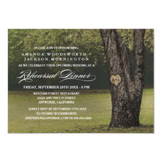 Oak Tree Initials Rehearsal Dinner Invitations