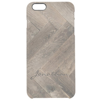 Oak Wood Zigzag Pattern Monogram Clear iPhone 6 Plus Case