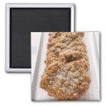Oat biscuits on plate fridge magnets