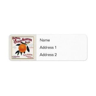Oatmans Sunny Mountain Oranges Return Address Label