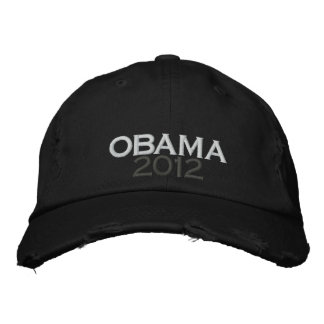 OBAMA 2012 Distressed Chino Twill Cap Embroidered Hat