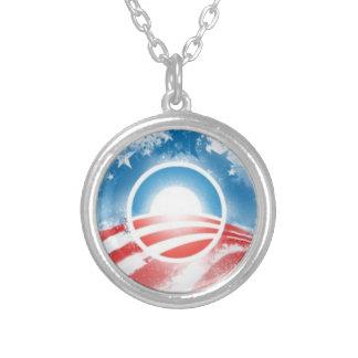 Obama 2012 Yes We Can Logo Round Pendant Necklace