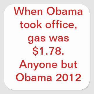 Obama Gas Price Square Sticker