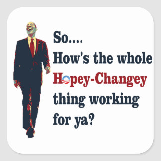 Obama  Hopey Changey Square Sticker