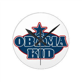 Obama Kid Round Clock