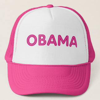 Obama Starry Lights Bling Trucker Hat in Hot Pink