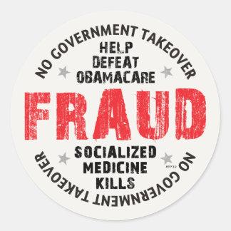 Obamacare Fraud Classic Round Sticker
