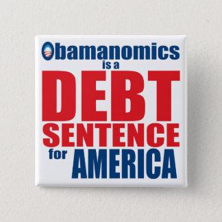 Obamanomics - Debt Sentence 15 Cm Square Badge