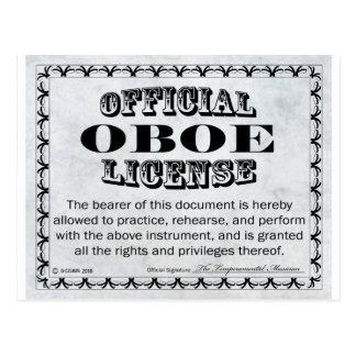 Oboe License Postcard