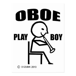 Oboe Play Boy Postcard