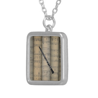 Oboe ~ Rolled Sheet Music Background ~ Musical Silver Plated Necklace