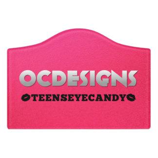 Ocdesigns Pink Black Lips Door Sign