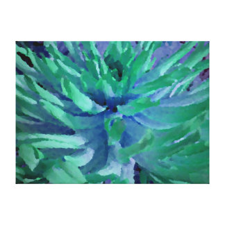ocean blue and sea green dahlia canvas print
