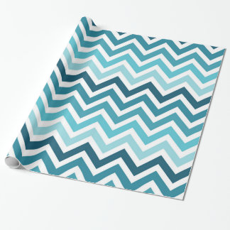 Ocean Blue Chevron Ombre Wrapping Paper