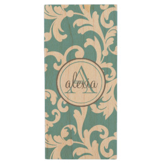 Ocean Blue Monogrammed Damask Wood USB Flash Drive